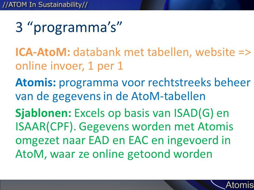 3 programma's ICA-AtoM: databank met tabellen, website => online invoer, 1 per 1 Atomis: programma voor rechtstreeks beheer van de gegevens in de AtoM-tabellen Sjablonen: Excels op basis van ISAD(G) en ISAAR(CPF).