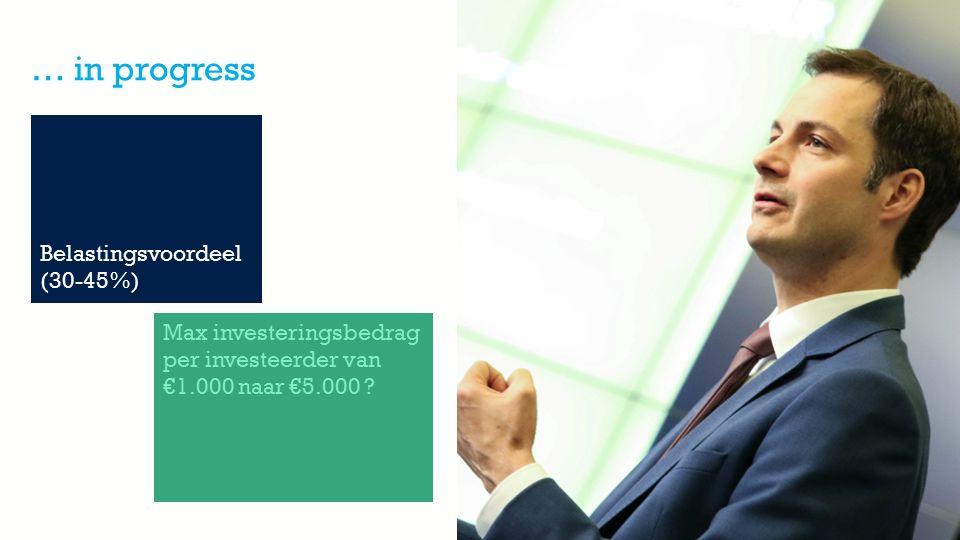 Member of the KBC group … in progress Belastingsvoordeel (30-45%) Max investeringsbedrag per investeerder van €1.000 naar €5.000