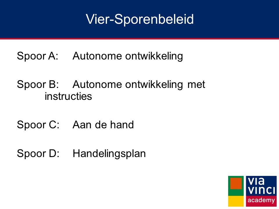 Vier-Sporenbeleid Spoor A: Autonome ontwikkeling Spoor B: Autonome ontwikkeling met instructies Spoor C: Aan de hand Spoor D: Handelingsplan