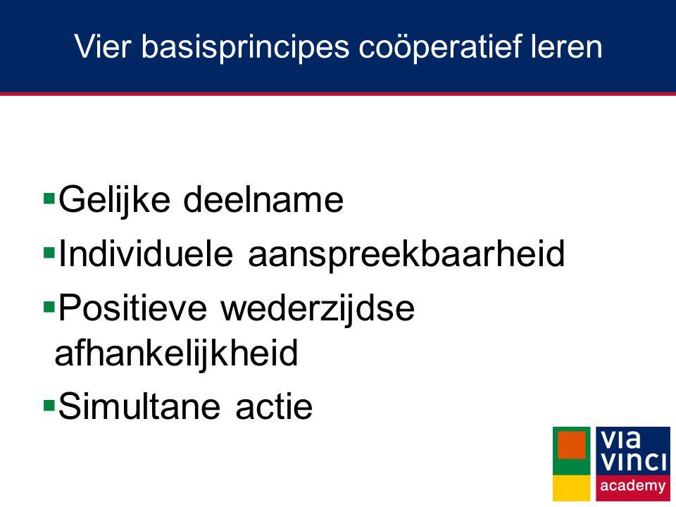 Vier basisprincipes coöperatief leren  Gelijke deelname  Individuele aanspreekbaarheid  Positieve wederzijdse afhankelijkheid  Simultane actie