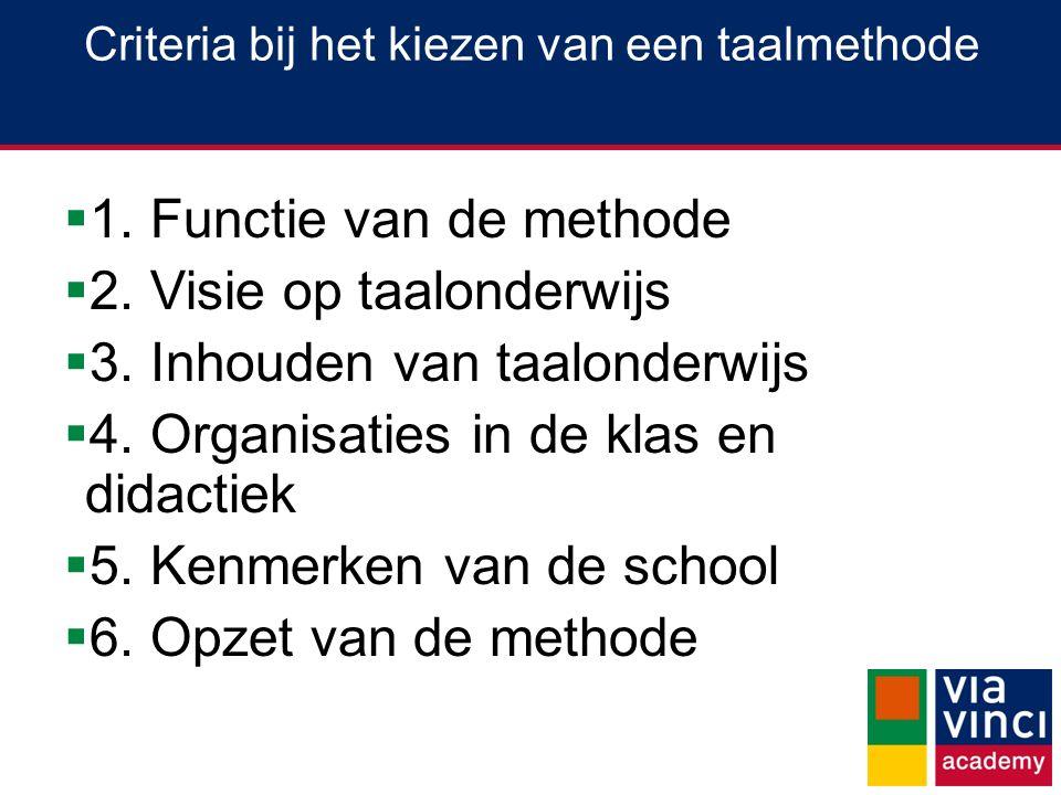 Criteria bij het kiezen van een taalmethode  1.Functie van de methode  2.