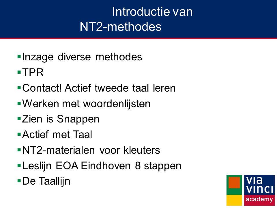 Introductie van NT2-methodes  Inzage diverse methodes  TPR  Contact.