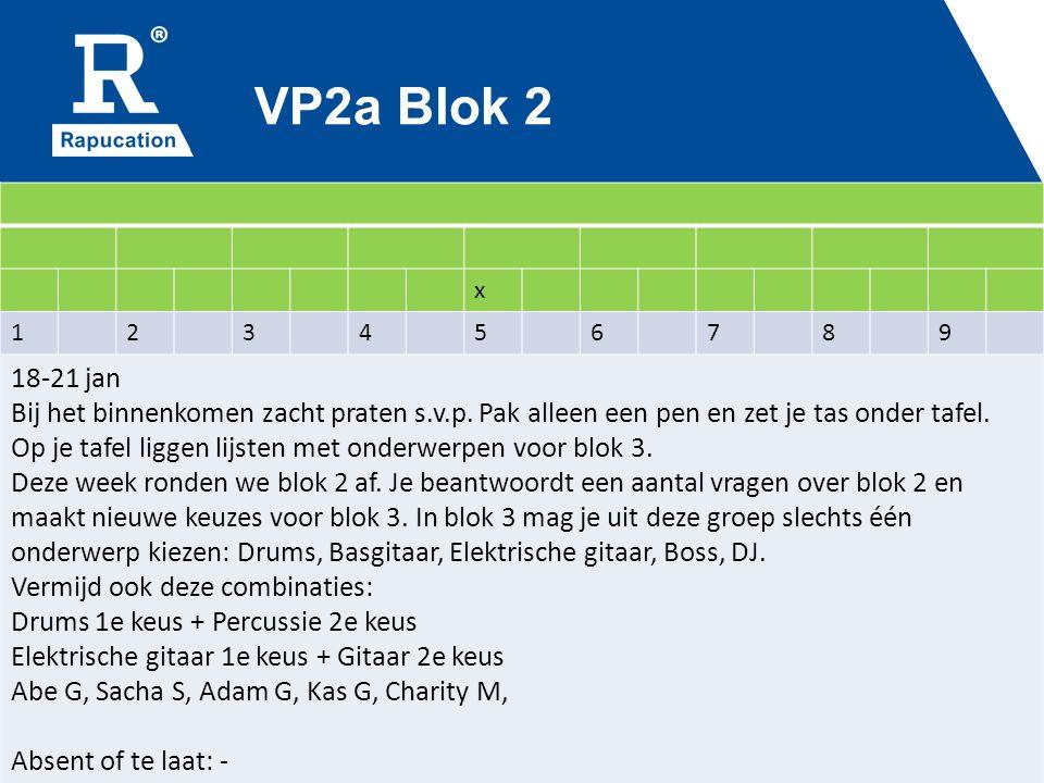 VP2a Blok 2 x 123456789 18-21 jan Bij het binnenkomen zacht praten s.v.p.