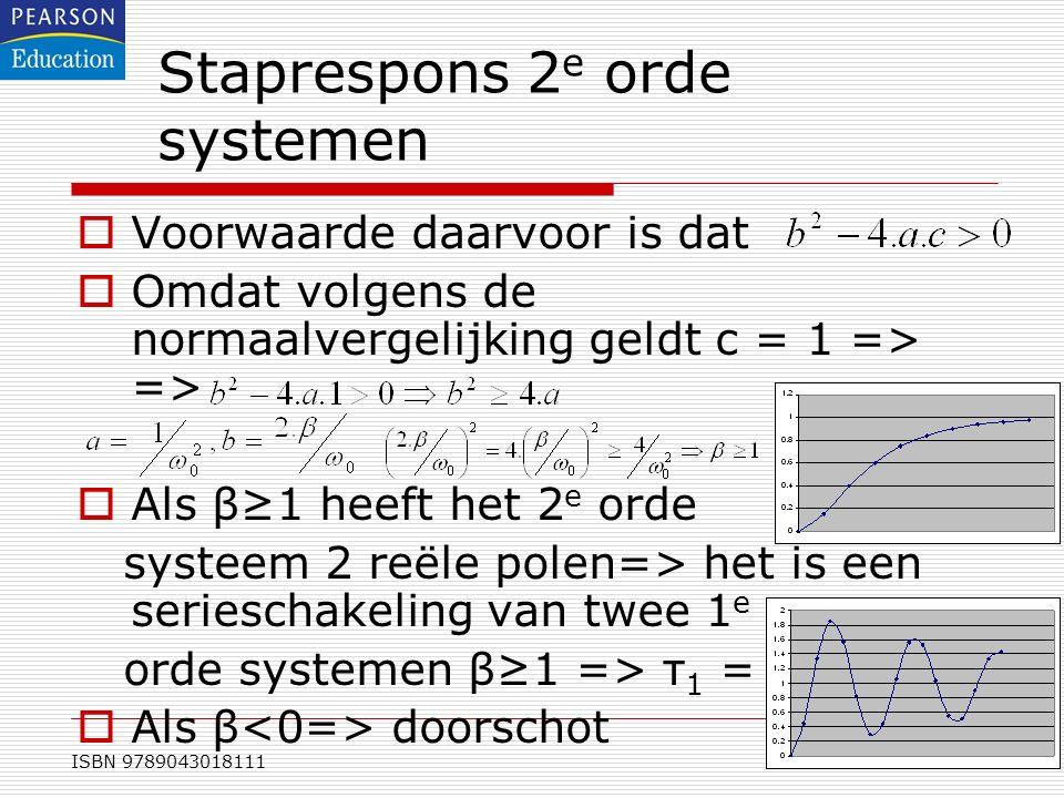 ISBN 9789043018111 Staprespons 2 e orde systemen  Voorwaarde daarvoor is dat  Omdat volgens de normaalvergelijking geldt c = 1 => =>  Als β≥1 heeft
