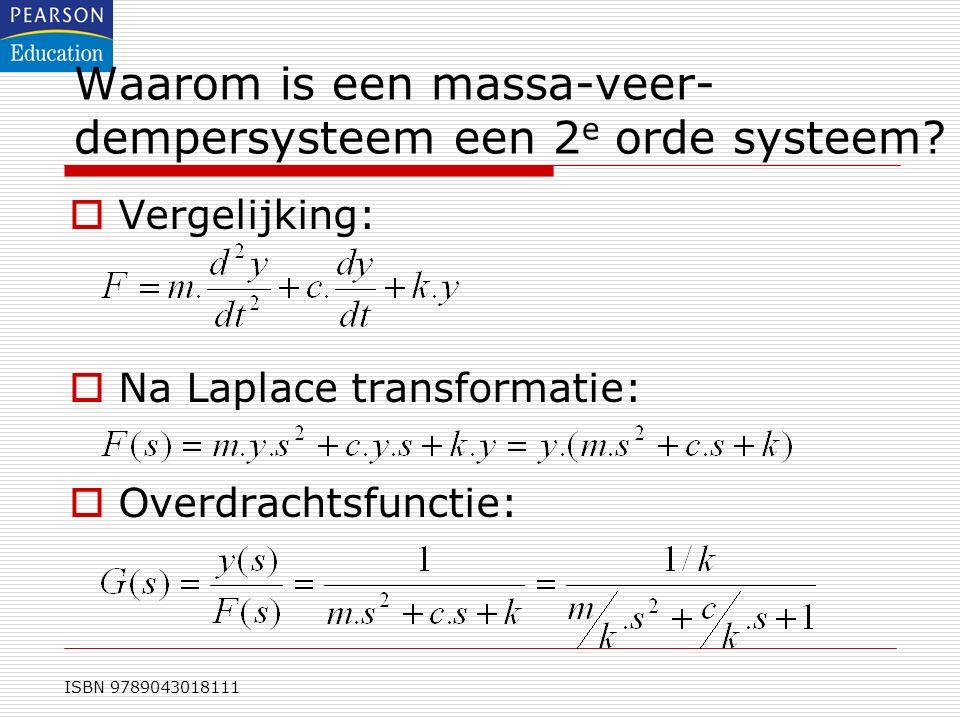 ISBN 9789043018111 Waarom is een massa-veer- dempersysteem een 2 e orde systeem?  Vergelijking:  Na Laplace transformatie:  Overdrachtsfunctie: