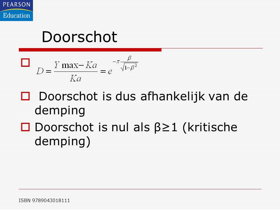 ISBN 9789043018111 Doorschot   Doorschot is dus afhankelijk van de demping  Doorschot is nul als β≥1 (kritische demping)
