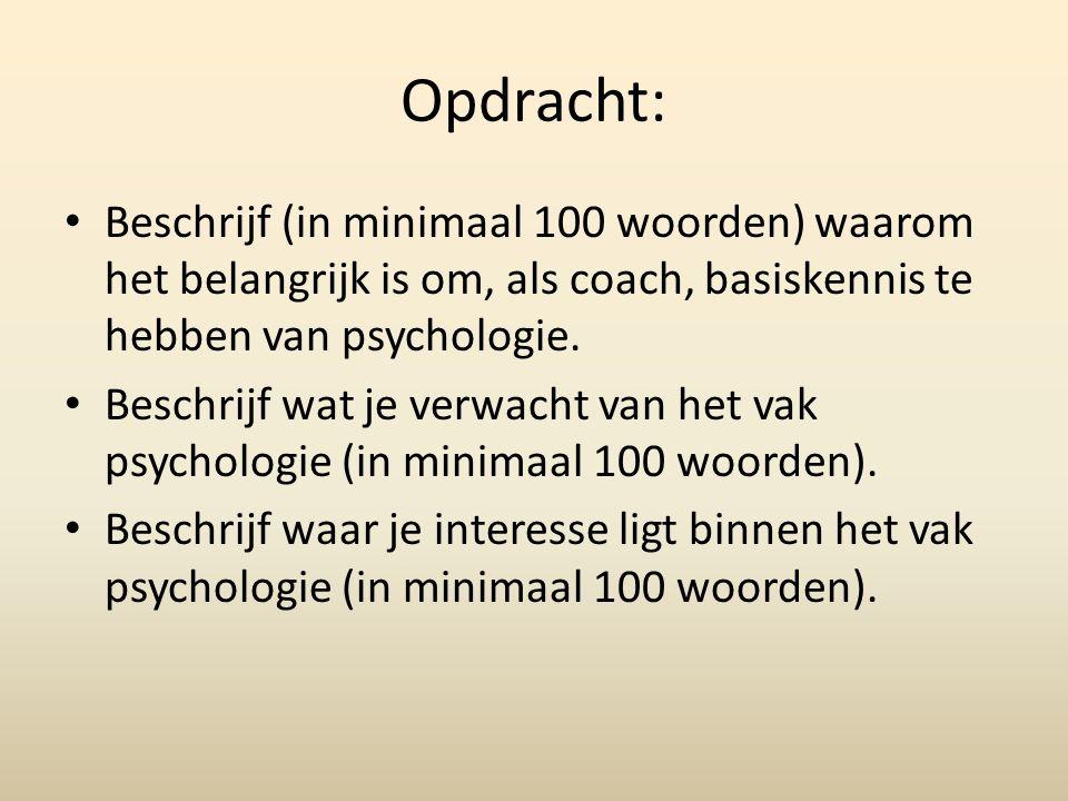 Opdracht: Beschrijf (in minimaal 100 woorden) waarom het belangrijk is om, als coach, basiskennis te hebben van psychologie.