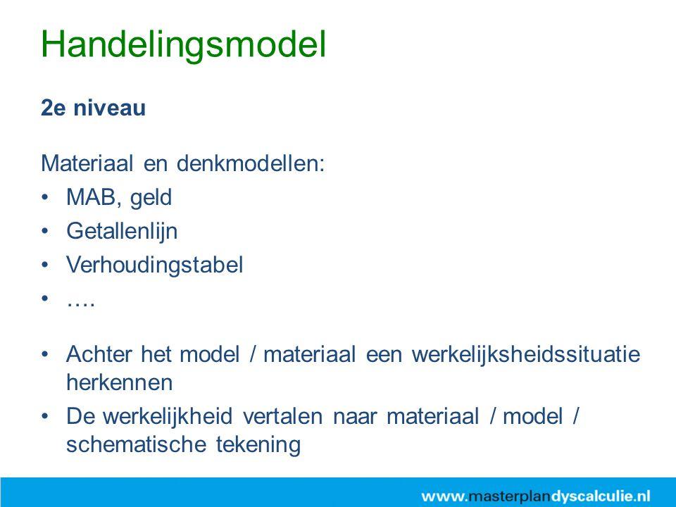2e niveau Materiaal en denkmodellen: MAB, geld Getallenlijn Verhoudingstabel ….