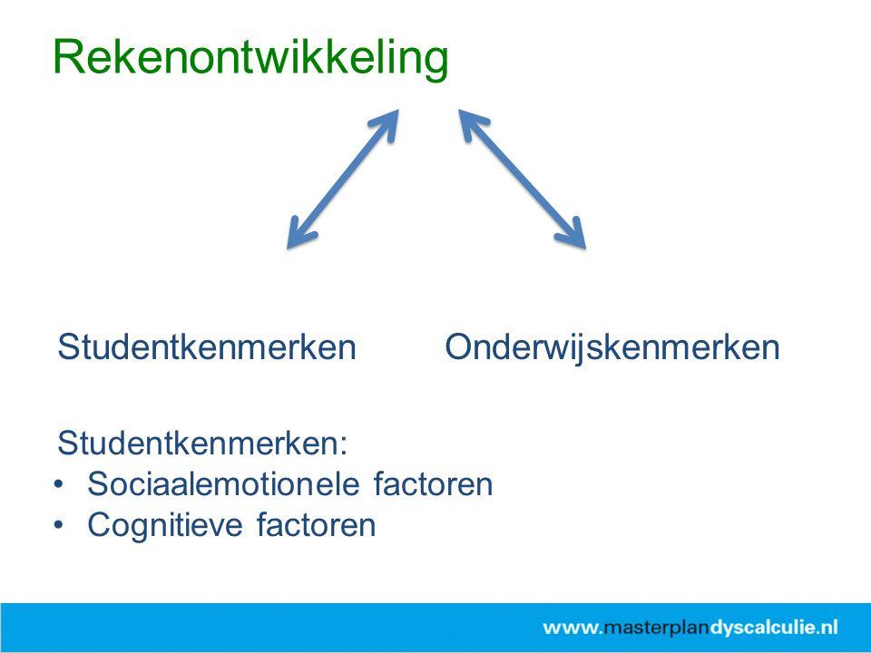 StudentkenmerkenOnderwijskenmerken Studentkenmerken: Sociaalemotionele factoren Cognitieve factoren Rekenontwikkeling
