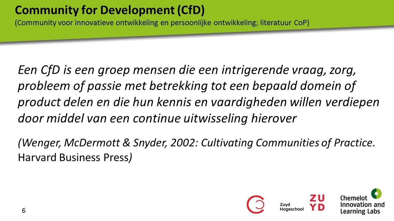 7 domein gemeenschap praktijk Dimensies van een CfD Rollen binnen CfD's van CHILL de beginnend professional (de lerende) de ervaren professional (de expert) de coach