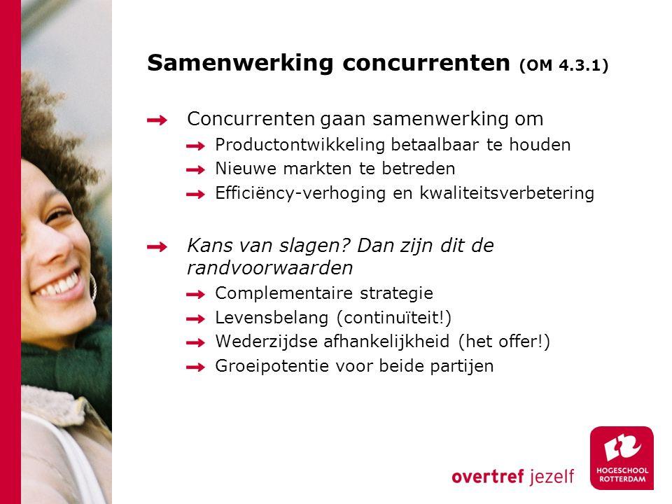 Samenwerking concurrenten (OM 4.3.1) Concurrenten gaan samenwerking om Productontwikkeling betaalbaar te houden Nieuwe markten te betreden Efficiëncy-verhoging en kwaliteitsverbetering Kans van slagen.