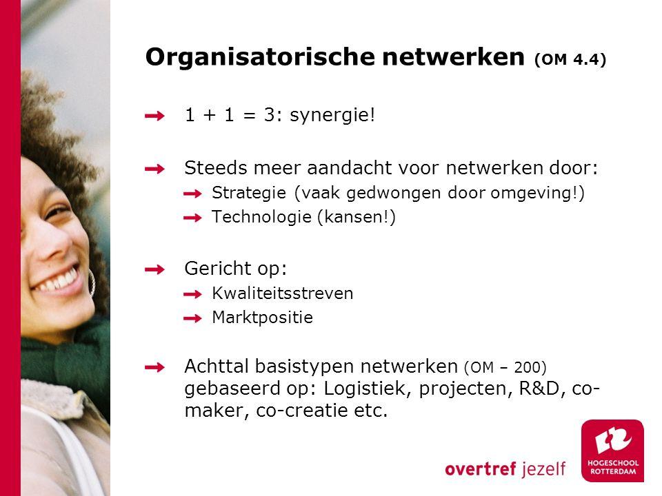 Organisatorische netwerken (OM 4.4) 1 + 1 = 3: synergie.