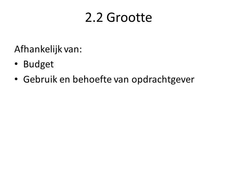 2.2 Grootte Afhankelijk van: Budget Gebruik en behoefte van opdrachtgever