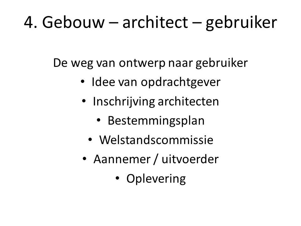4. Gebouw – architect – gebruiker De weg van ontwerp naar gebruiker Idee van opdrachtgever Inschrijving architecten Bestemmingsplan Welstandscommissie