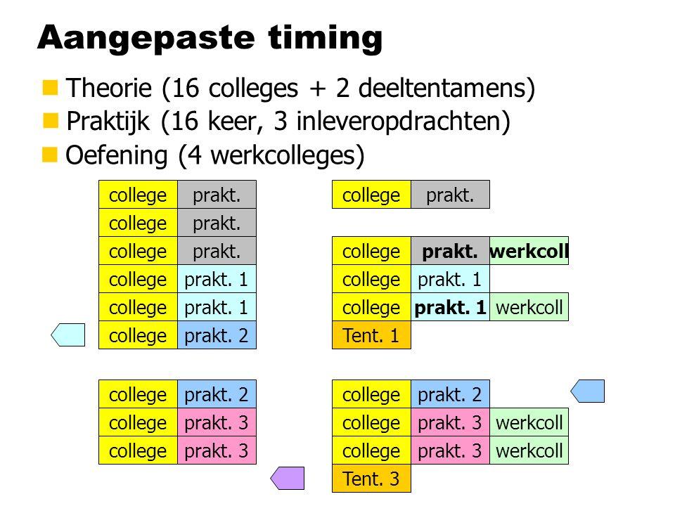 Aangepaste timing nTheorie (16 colleges + 2 deeltentamens) nPraktijk (16 keer, 3 inleveropdrachten) college Tent. 1 Tent. 3 college prakt. 1 prakt. 3