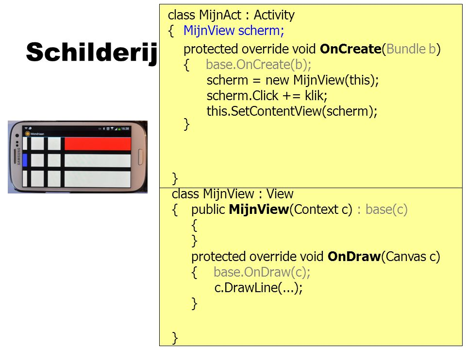 Schilderij protected override void OnCreate(Bundle b) { base.OnCreate(b); class MijnAct : Activity } { scherm = new MijnView(this); this.SetContentView(scherm); } MijnView scherm; } { protected override void OnDraw(Canvas c) { base.OnDraw(c); } public MijnView(Context c) : base(c) { } c.DrawLine(...); class MijnView : View scherm.Click += klik;