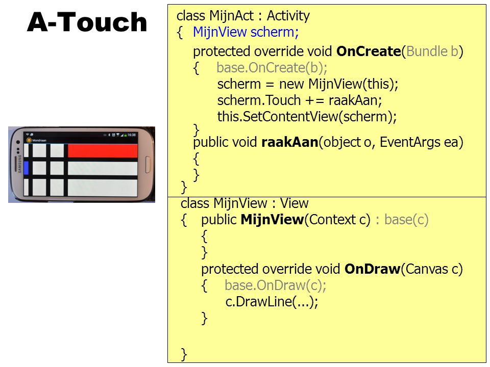 A-Touch protected override void OnCreate(Bundle b) { base.OnCreate(b); class MijnAct : Activity } { scherm = new MijnView(this); this.SetContentView(scherm); } MijnView scherm; } { protected override void OnDraw(Canvas c) { base.OnDraw(c); } public MijnView(Context c) : base(c) { } c.DrawLine(...); class MijnView : View scherm.Touch += raakAan; public void raakAan(object o, EventArgs ea) { }