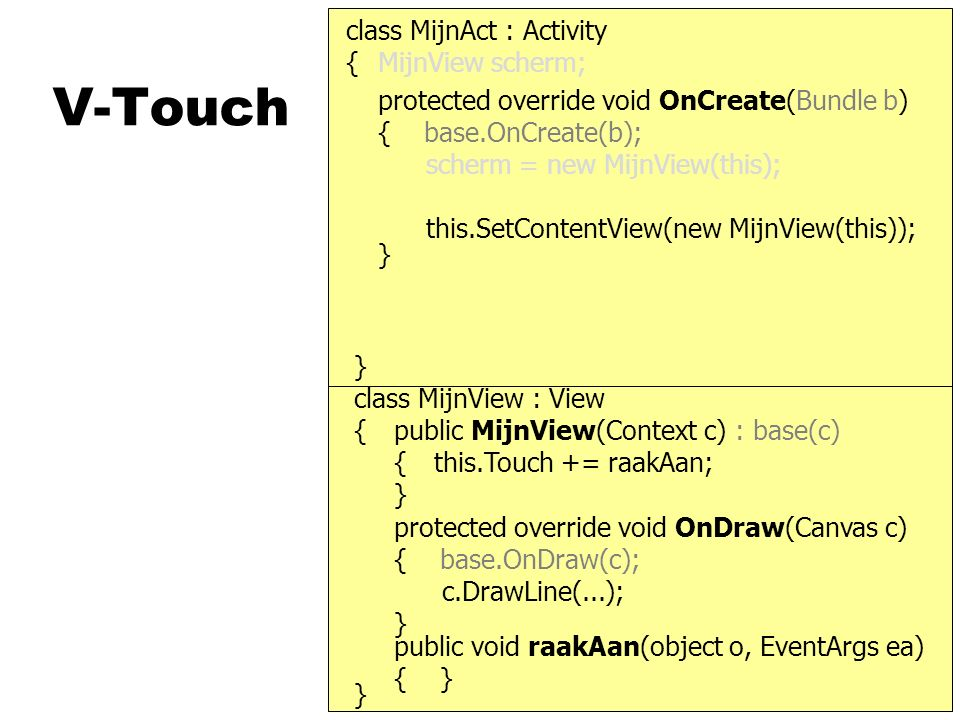 V-Touch protected override void OnCreate(Bundle b) { base.OnCreate(b); class MijnAct : Activity } { scherm = new MijnView(this); this.SetContentView(new MijnView(this)); } MijnView scherm; } { protected override void OnDraw(Canvas c) { base.OnDraw(c); } public MijnView(Context c) : base(c) { } c.DrawLine(...); class MijnView : View this.Touch += raakAan; public void raakAan(object o, EventArgs ea) { }