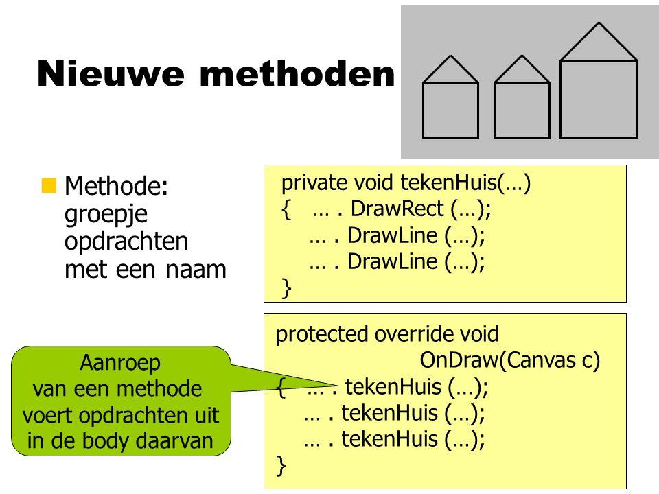 Nieuwe methoden nMethode: groepje opdrachten met een naam Aanroep van een methode voert opdrachten uit in de body daarvan private void tekenHuis(…) { ….