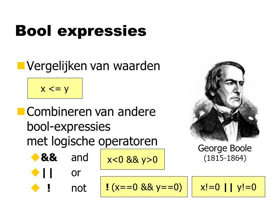 Bool expressies nVergelijken van waarden nCombineren van andere bool-expressies met logische operatoren u&&and u||or u !not x <= y x 0 .