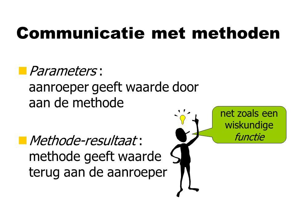 Communicatie met methoden nParameters : aanroeper geeft waarde door aan de methode nMethode-resultaat : methode geeft waarde terug aan de aanroeper ne