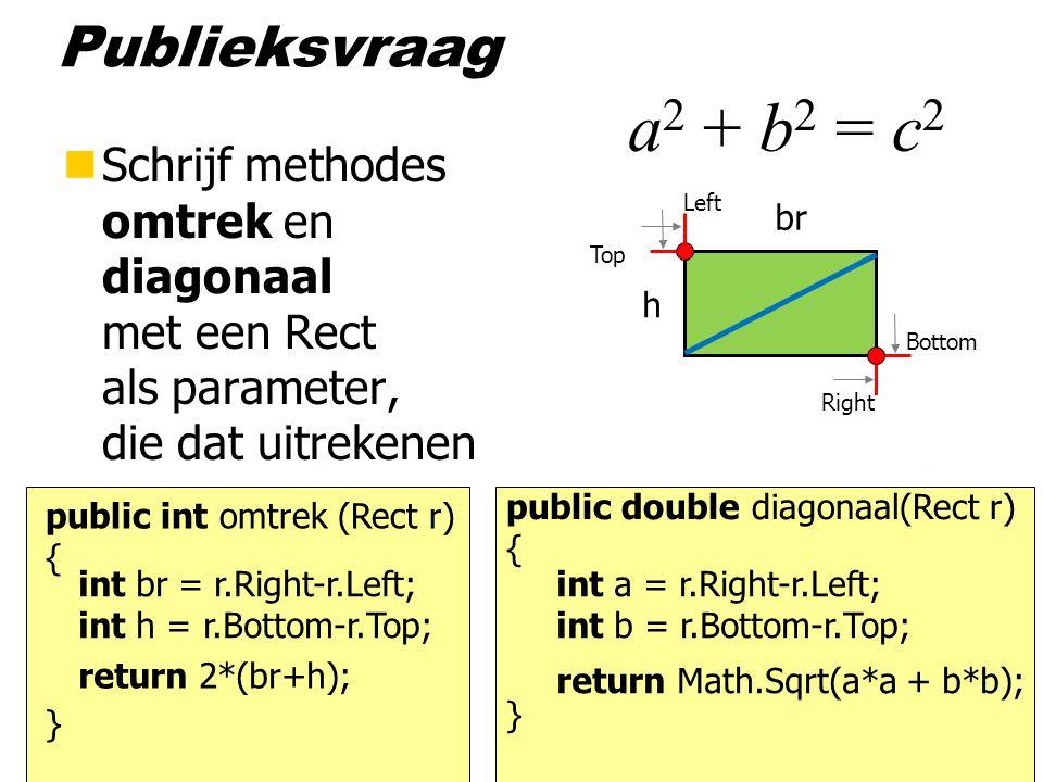 Publieksvraag nSchrijf methodes omtrek en diagonaal met een Rect als parameter, die dat uitrekenen public int omtrek (Rect r) { } return 2*(br+h); Left Top Right Bottom int br = r.Right-r.Left; int h = r.Bottom-r.Top; br h public double diagonaal(Rect r) { } return Math.Sqrt(a*a + b*b); int a = r.Right-r.Left; int b = r.Bottom-r.Top; a 2 + b 2 = c 2