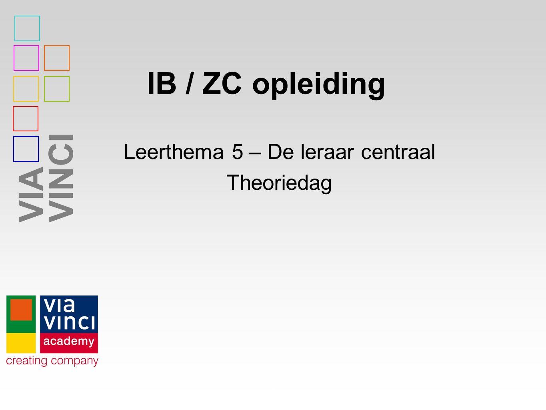 VIAVINCI IB / ZC opleiding 1 Leerthema 5 – De leraar centraal Theoriedag