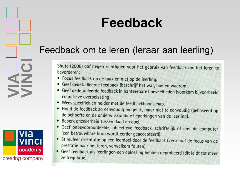 VIAVINCI Feedback Feedback om te leren (leraar aan leerling)
