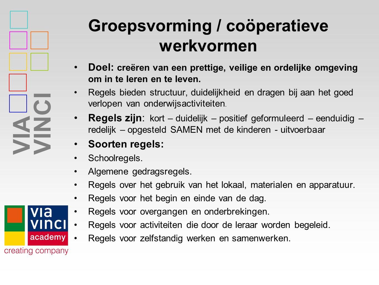 VIAVINCI Groepsvorming / coöperatieve werkvormen Doel: creëren van een prettige, veilige en ordelijke omgeving om in te leren en te leven. Regels bied