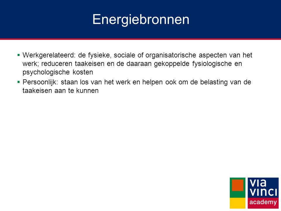 Energiebronnen  Werkgerelateerd: de fysieke, sociale of organisatorische aspecten van het werk; reduceren taakeisen en de daaraan gekoppelde fysiolog
