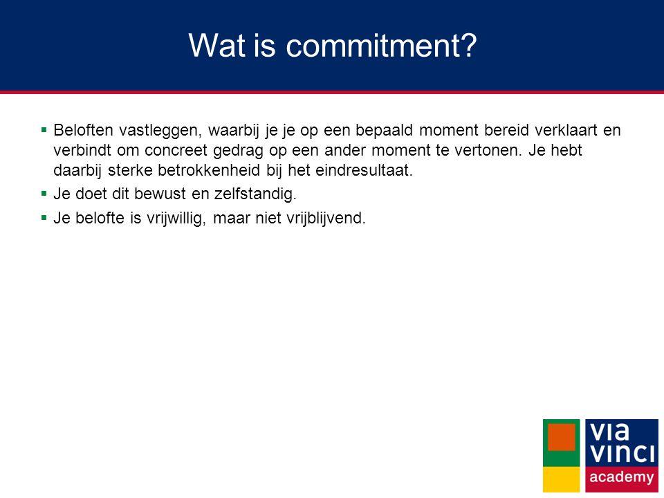 Wat is het belang van commitment.