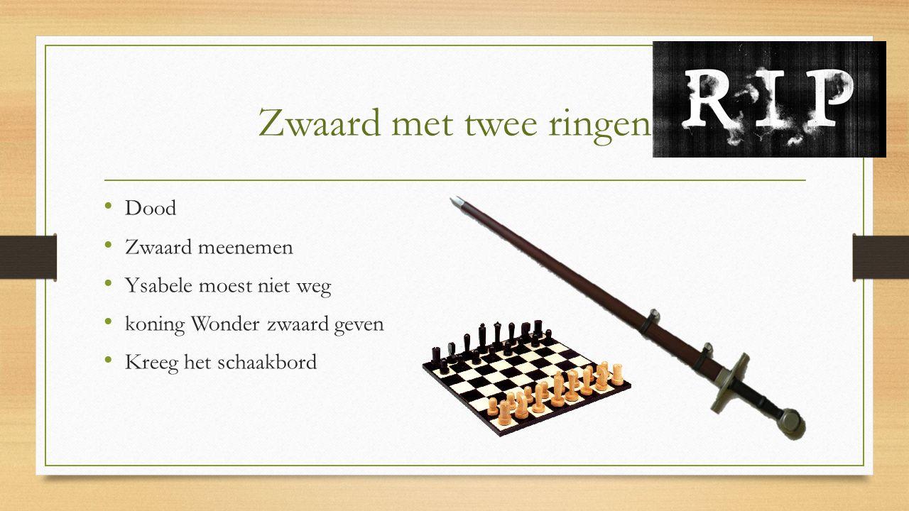 Zwaard met twee ringen Dood Zwaard meenemen Ysabele moest niet weg koning Wonder zwaard geven Kreeg het schaakbord
