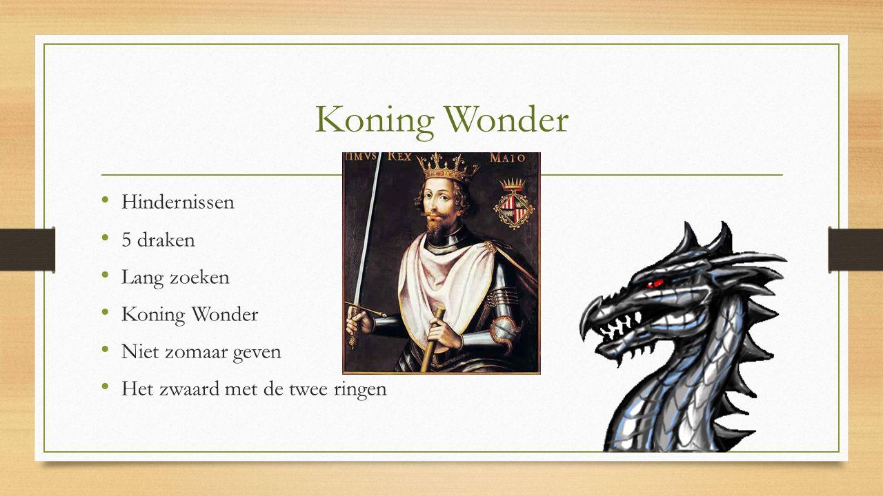 Koning Wonder Hindernissen 5 draken Lang zoeken Koning Wonder Niet zomaar geven Het zwaard met de twee ringen
