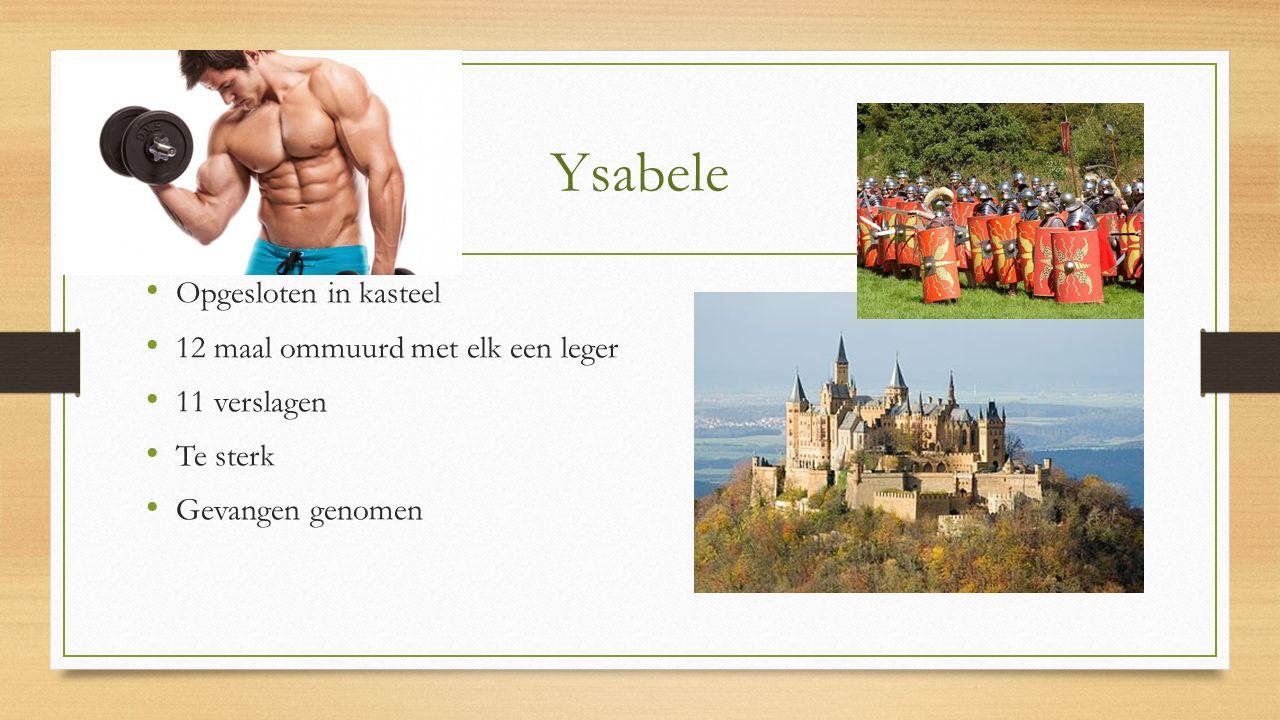 Ysabele Opgesloten in kasteel 12 maal ommuurd met elk een leger 11 verslagen Te sterk Gevangen genomen