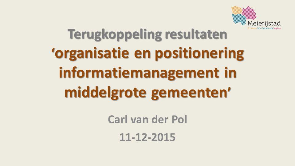 Terugkoppeling resultaten ' organisatie en positionering informatiemanagement in middelgrote gemeenten ' Carl van der Pol 11-12-2015