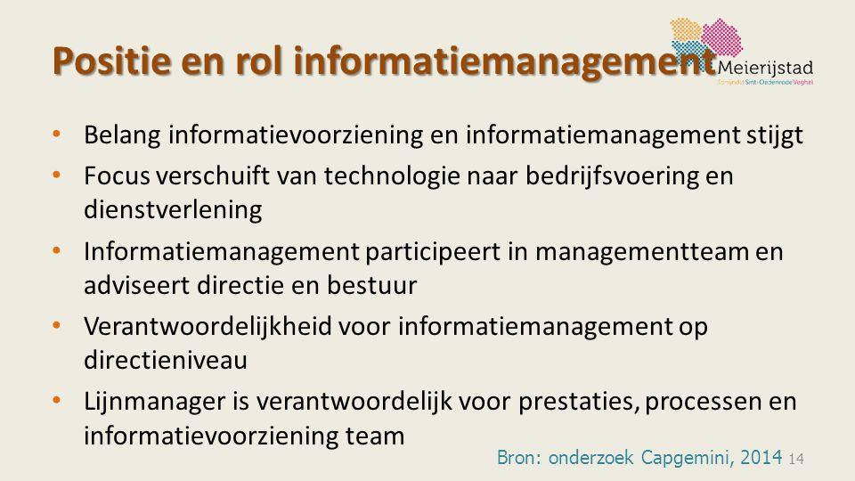 Positie en rol informatiemanagement Belang informatievoorziening en informatiemanagement stijgt Focus verschuift van technologie naar bedrijfsvoering