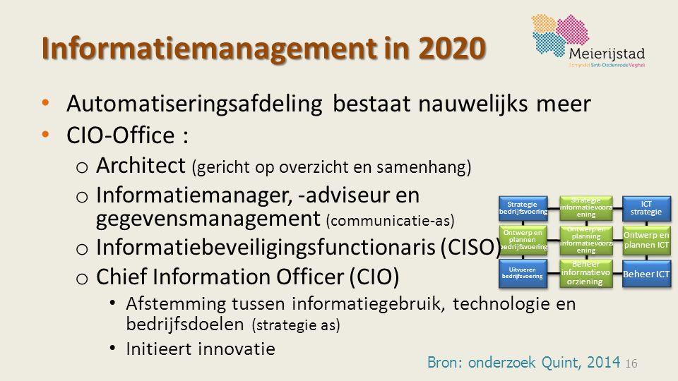 Strategie bedrijfsvoering Uitvoeren bedrijfsvoering Beheer ICT ICT strategie ICT strategie Ontwerp en planning informatievoorzi ening Ontwerp en plann