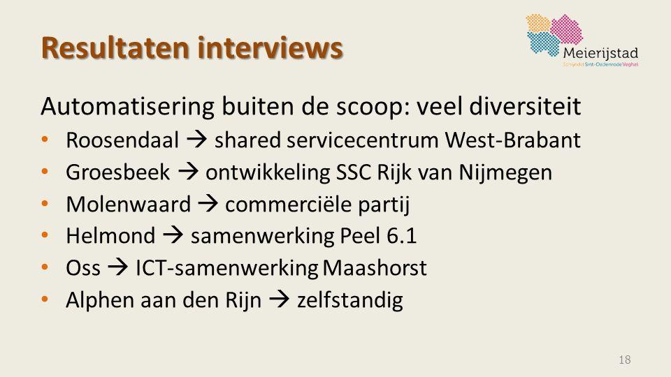 Resultaten interviews Automatisering buiten de scoop: veel diversiteit Roosendaal  shared servicecentrum West-Brabant Groesbeek  ontwikkeling SSC Ri