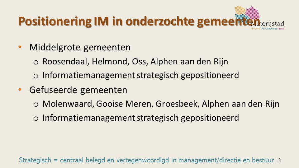 Positionering IM in onderzochte gemeenten Middelgrote gemeenten o Roosendaal, Helmond, Oss, Alphen aan den Rijn o Informatiemanagement strategisch gep