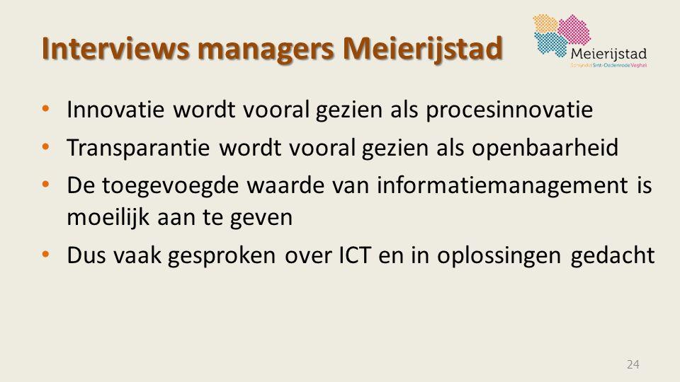 Interviews managers Meierijstad Innovatie wordt vooral gezien als procesinnovatie Transparantie wordt vooral gezien als openbaarheid De toegevoegde wa