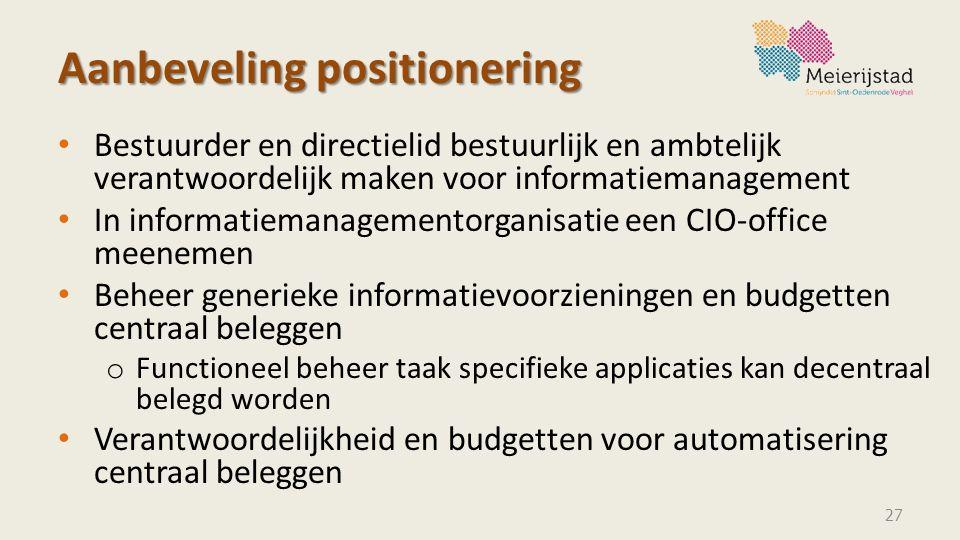Aanbeveling positionering Bestuurder en directielid bestuurlijk en ambtelijk verantwoordelijk maken voor informatiemanagement In informatiemanagemento