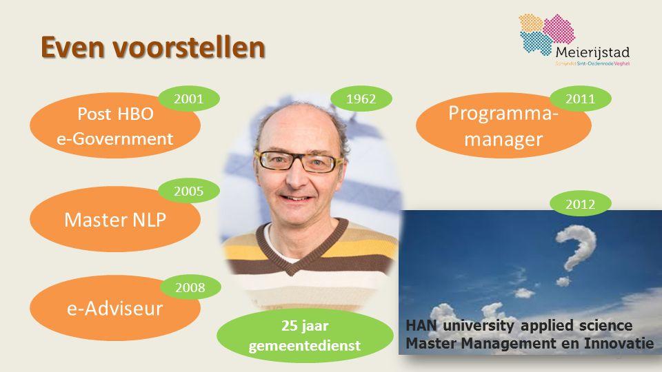 Even voorstellen 3 Post HBO e-Government Programma- manager Master NLP 2005 200120111962 e-Adviseur 2008 2012 25 jaar gemeentedienst HAN university ap