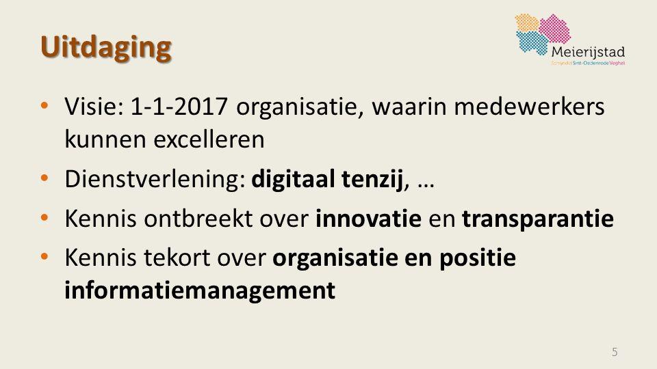 Uitdaging Visie: 1-1-2017 organisatie, waarin medewerkers kunnen excelleren Dienstverlening: digitaal tenzij, … Kennis ontbreekt over innovatie en tra