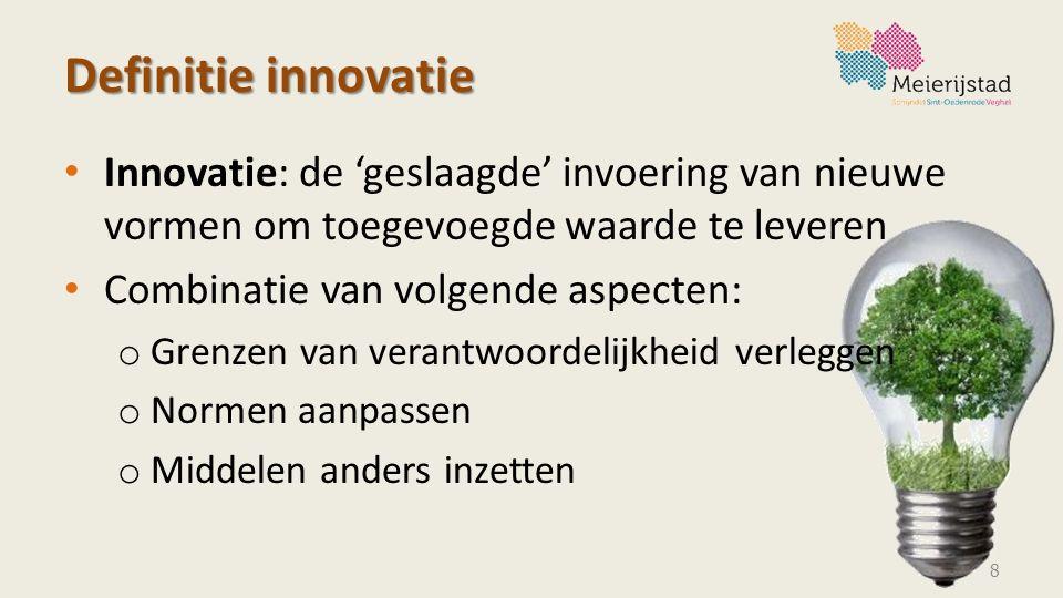 Definitie innovatie Innovatie: de 'geslaagde' invoering van nieuwe vormen om toegevoegde waarde te leveren Combinatie van volgende aspecten: o Grenzen