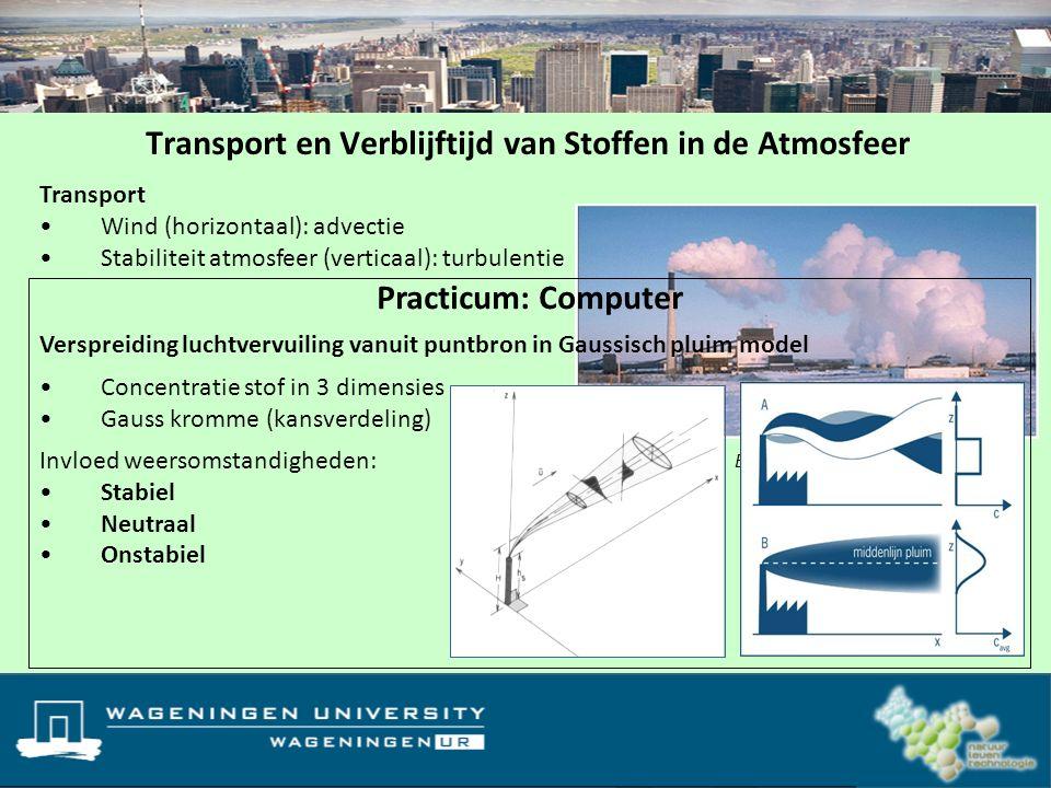 Transport Wind (horizontaal): advectie Stabiliteit atmosfeer (verticaal): turbulentie Transport en Verblijftijd van Stoffen in de Atmosfeer C(t): conc