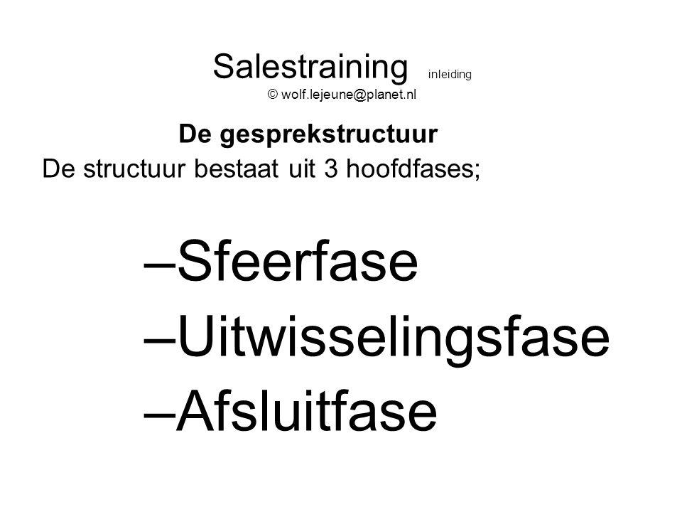Salestraining inleiding © wolf.lejeune@planet.nl De gesprekstructuur De structuur bestaat uit 3 hoofdfases; –Sfeerfase –Uitwisselingsfase –Afsluitfase