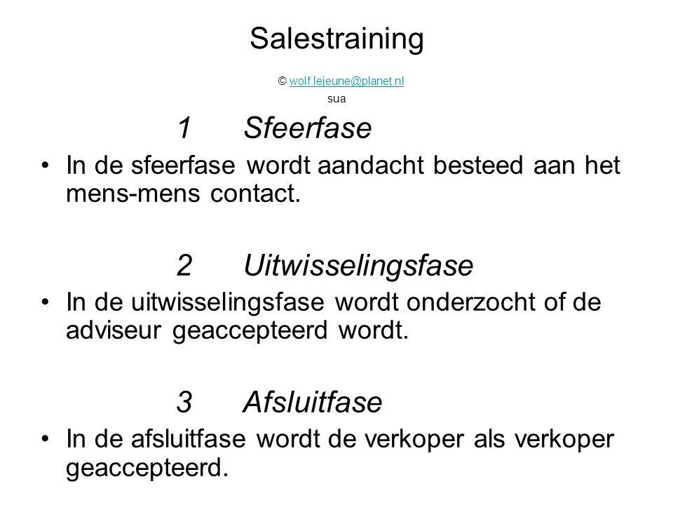 Salestraining © wolf.lejeune@planet.nl suawolf.lejeune@planet.nl 1Sfeerfase In de sfeerfase wordt aandacht besteed aan het mens-mens contact. 2Uitwiss