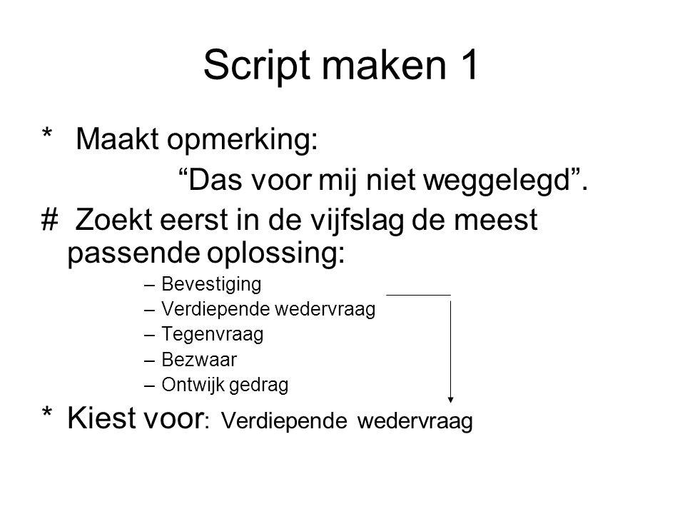 """Script maken 1 * Maakt opmerking: """"Das voor mij niet weggelegd"""". # Zoekt eerst in de vijfslag de meest passende oplossing: –Bevestiging –Verdiepende w"""