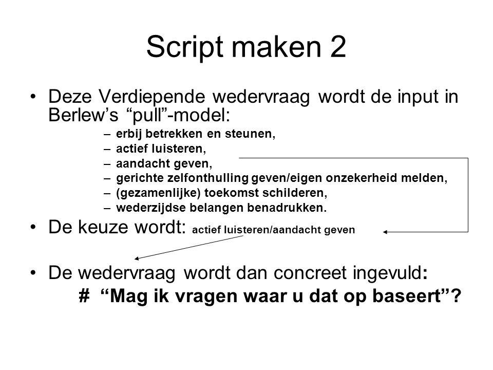 """Script maken 2 Deze Verdiepende wedervraag wordt de input in Berlew's """"pull""""-model: –erbij betrekken en steunen, –actief luisteren, –aandacht geven, –"""