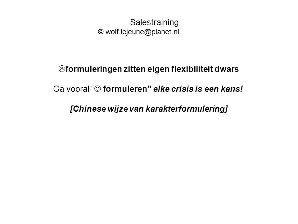 """ formuleringen zitten eigen flexibiliteit dwars Ga vooral """" formuleren"""" elke crisis is een kans! [Chinese wijze van karakterformulering] Salestrainin"""